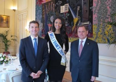 Embajador designado de Francia en Panama, Philippe Casenave, Miss France 2014, Flora Coquerel y el Embajador Henry Faarup
