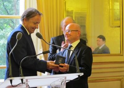 Presidente del Senado Jean-Pierre Bel y el Dr. Moreau