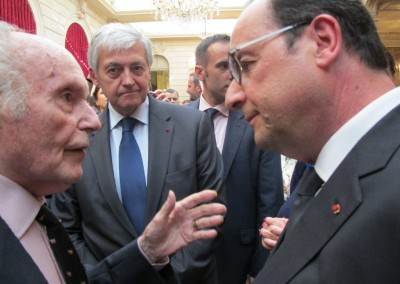 Recepción en la Presidencia: René de Obaldia y Presidente François Hollande. 4 de junio 2015