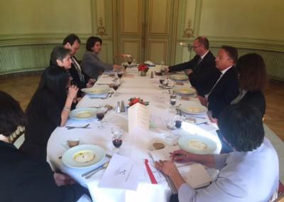 Reunión de los Embajadores del SICA del viernes 11 de marzo 2016 con el Representante América Latina del Presidente, Jean-Pierre Bel y funcionarios de la Dirección de las Américas de la Cancillería francesa, Christophe Quentel y Rachel Caruhel