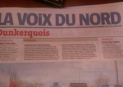 Anuncio en el periódico La Voix du Nord, de la conferencia de la Embajadora Pilar de Alemán en la Universidad de Dunkerque