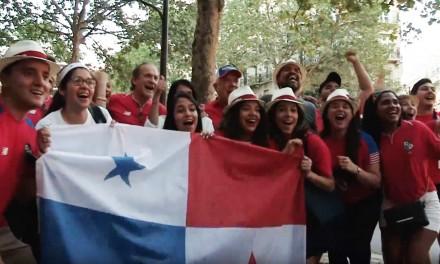 Panamá-Túnez. Panameños en Paris celebrando el último partido de la selección en el mundial de Rusia