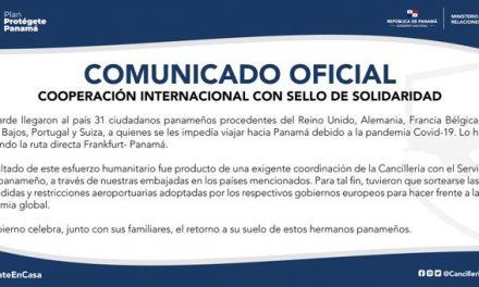31 panameños pudieron regresar hoy desde varios países europeos