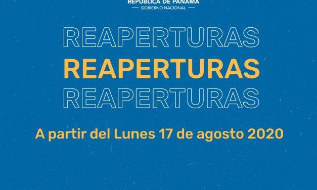 A partir del lunes 17 de agosto se dará reapertura de varias actividades económicas a nivel nacional