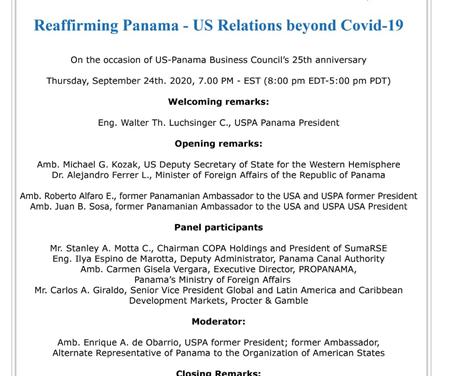 """Acompáñanos en el evento """"Reafirmando las Relaciones Panamá – Estados Unidos, más allá del Covid"""""""
