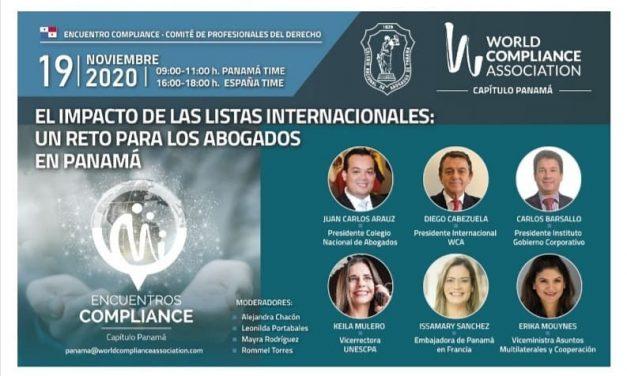 """Nuestras Viceministra y Embajadora han sido invitadas al evento """"El impacto de las listas internacionales: Un reto para los abogados en Panamá"""""""