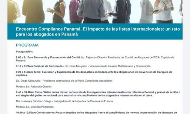 Programa del Encuentro Compliance Panamá, que se celebrará el próximo 19 de noviembre