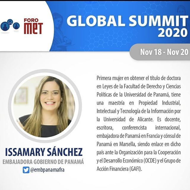 SE Issamary Sánchez ha sido invitada como Expositora al Global Summit 2020 de Foro Met