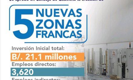 CRÉATION DE CINQ NOUVELLES ZONES FRANCHES AU PANAMA
