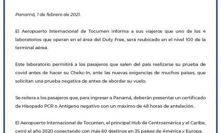 Aeropuerto de Tocumen establece laboratorio de Covid-19 para pasajeros que salen del país #panamaenfrance #unidoslohacemos #elverdaderolibrodepanama