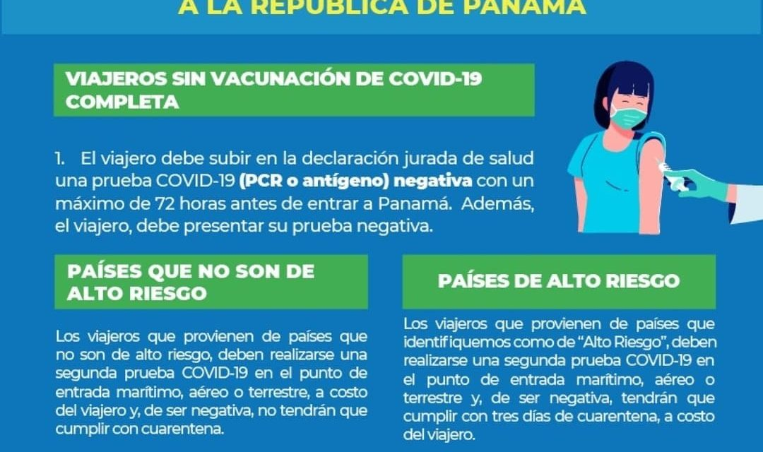 Nouvelles mesures décrétées par le ministère de la Santé du Panama pour entrer dans le pays.