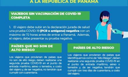 Nuevas medidas decretadas por el Ministerio de Salud de Panamá para ingreso al país.