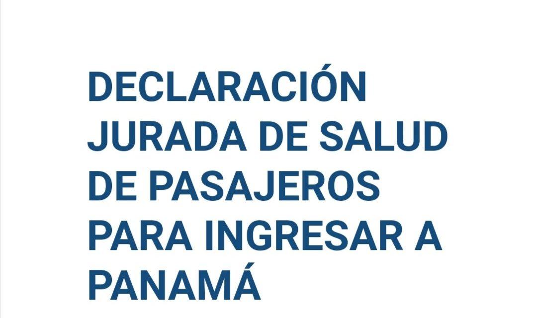 AFFIDAVIT DE SANTÉ DES PASSAGERS POUR ENTRER AU PANAMA.