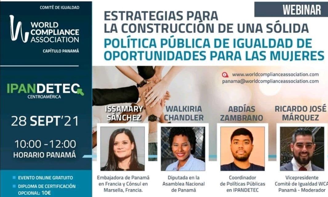 SE Issamary Sanchez a été invitée en tant que conférencière à l'événement Wordcompliance sur les politiques publiques d'égalité des opportunités pour les femmes.